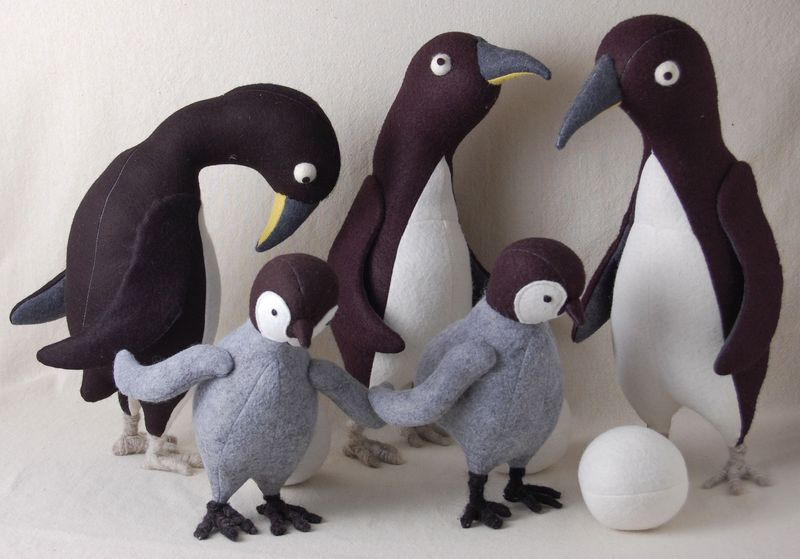 Felt penguin family with eggs