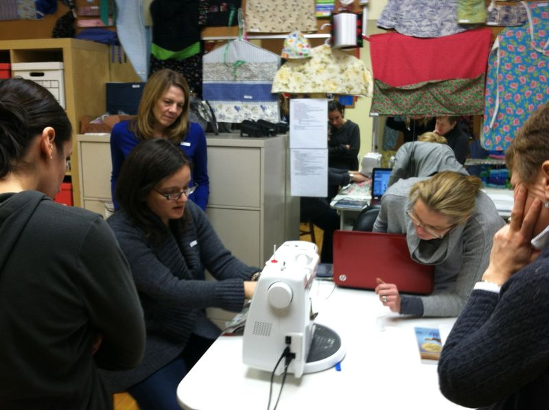 Teaching a sewing class